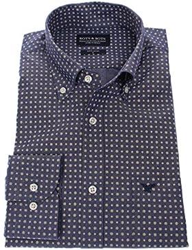 Bots & Bots 186008 Camicia Uomo - 100% Cotone - Stampa - Button Down - Normal Fit