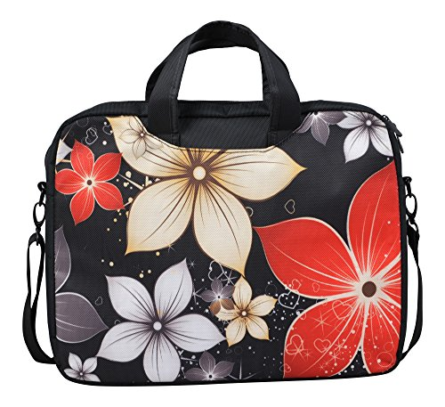 MySleeveDesign Borsa con tracolla per notebook e pc portatili 13,3 pollici / 14 pollici / 15,6 pollici / 17,3 pollici - DIVERSE FANTASIE - Red Flowers [15]