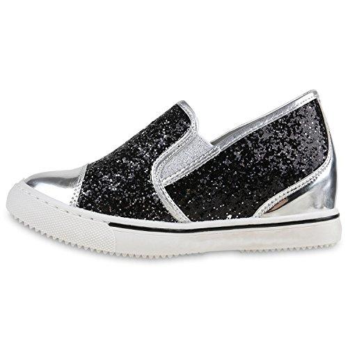 Sneaker-Wedges Damen Keil Absatz Turnschuhe 90's Look Freizeit Schwarz Glitzer