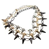 Gothic Cool Punk Rivets Taper Stud Spike Charm Circle Link Chain Choker Necklace