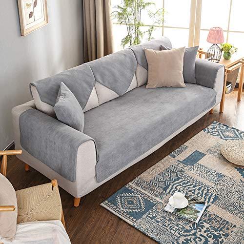 DW&HX Cojín para sofá Impermeable, Orina Aislamiento Máquina Lavable Mascotas Four Seasons Universal Color sólido Cubreobjetos Moderno Simple-Gris 35 * 83 in