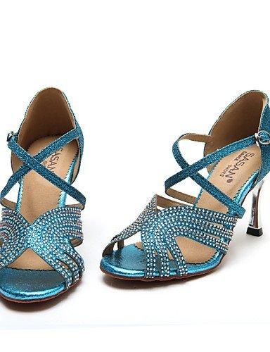 ShangYi Chaussures de danse ( Autre ) - Non Personnalisables - Talon Bobine - Cuir / Paillette Brillante -Latine / Jazz / Moderne / Chaussures de Blue