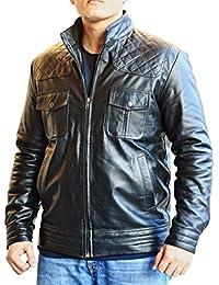 classyak Fashion élégant en cuir véritable moto Veste pour homme b93a1ec33d14