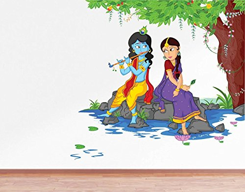 Wall Decals 'Lord Krishna Playing Flute with Radha on River Bed' Wall Sticker - (PVC Vinyl, 80 cm x 80 cm, Multicolour) by Paper Plane Design (PPD)  available at amazon for Rs.199