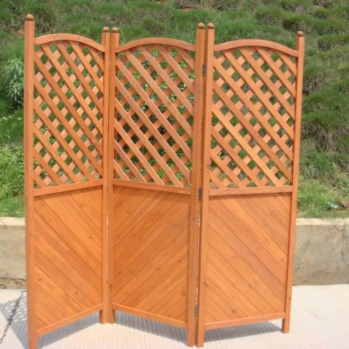 Outdoor Garden & Patio 3 Hinged Panel Wooden Wood Latticed Privacy Screen Fence -