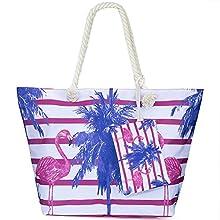 Große Strandtasche mit Reissverschluss, ZWOOS Damen Shopping Shopper Tasche Reisetasche Canvas Schultertasche für Reise, Kaufen, Ausflug usw. (Flamingo 4)
