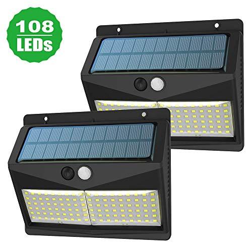 Luz Solar Exterior, SINJIALight 108LED 2000mAh Foco Led Solar con Sensor Movimiento,Luces...