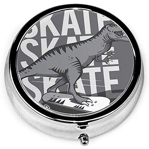 Runder Pillenkoffer mit 3 Fächern; Reise-Pillen-Kasten-Kinderdinosaurier-Skateboard-Grafik-Dino-niedliches Gekritzel-cooles Skater-abstraktes Tier