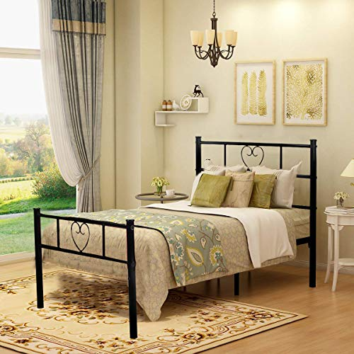 Aingoo Single Bed Frame Solid 3ft Metal Beds with Heart Shaped Fits for 90 * 190 cm Mattress Large Storage Space Children Adults Black