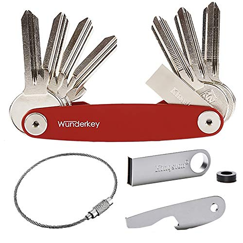 WUNDERKEY Ultimate Package - Key Organizer Set mit den beliebtesten Add-Ons [mit USB-Stick, Flaschenöffner & Schlüsselring | Schlüssel-Organizer], Rot Transponder Ring