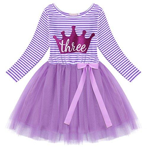OBEEII Baby Mädchen Geburtstag Kostüm Neugeborenen Streifen Muster Drucken Mesh Tüll Kleid PrinzessinTutu Rock mit Bowknot für Geburtstag Party Fotografie für Kinder Violett Krone (3 Jahre) -