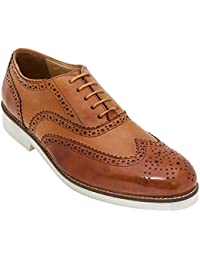 Handmade Casual Oxford Brogue Shoe In Real Calf Leather (Lace Ups) For Men In Tan Colour