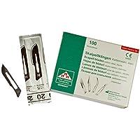 Hojas bisturi nº 20 - cuchillas escalpelo - bisturi quirurgico - recambio cuchillas - envase de abastecimiento con 100 cuchillas de repuesto
