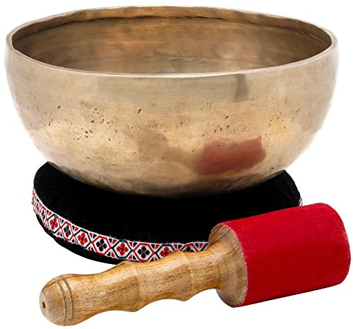 XDrum tibetische Klangschale 20 cm SET inkl. Kissen (Meditation, Therapie, Klangmassage, handgemacht, 1,2 kg, inkl. Lederklöppel und Unterlage) gold -