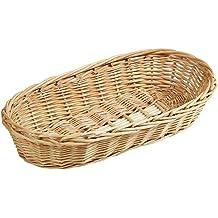 Kesper Baguette-cesta, cesta de mimbre, ganchillo, tamaño pequeño, mimbre, tamaño: 380 x 180 x 80 mm