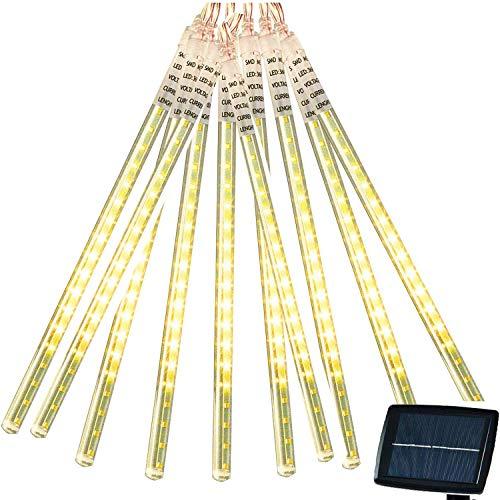 LED Meteorschauer Regen Lichter,SUAVER Wasserdichte Solar Lichter dekorative Garten Lichterketten mit 30cm 10Tube 360LEDs für Hochzeits Weihnachten dekorative (Warmweiß)