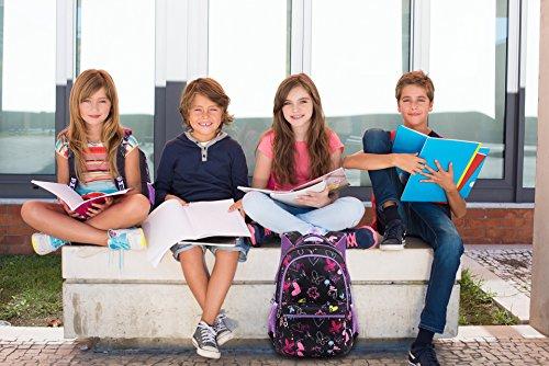 Termichy Mode Kinder Teenager Mädchen Schulrucksack Leichte Schule Tasche Blumen Floral Studenten Rucksack Lässig Daypack Reise Backpack für Schüler Outdoor Freizeit-Lila - 7