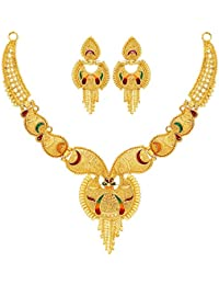 Mansiyaorange Traditional Party One Gram Gold Work Golden Necklace Jewellery/julries Sets for Women(Wax Forming)