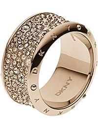 DKNY Damen-Ring Edelstahl Glaskristall braun  NJ2020040