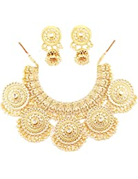 Touchstone Padmavati Collection Kundan Polki Antique Gold Tone Jewellery Set For Women