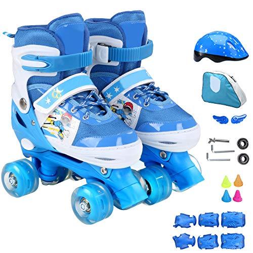 ZCRFY Inline-Skates Einstellbare Rollschuhe Quad Kids Doppelte Reihe 4 Räder Rollerblades Für Anfänger Kleinkinder Kinder Jungen Mädchen Schlittschuh Geburtstagsgeschenk,Blue-Set1-S(26-32) Code