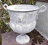 Deko-Impression Große Amphore schöner Übertopf Pflanztopf Vase Schale Eisen Antik grau