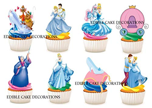 Ediblecakedecorations Cinderella Disney Princess Essbare Cupcake-Topper aus Papier, 30 Stück