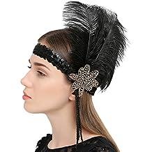 1920 Jahre Vintage Pailletten Flapper Stirnband Schwarz Feder Plume Kopfstück