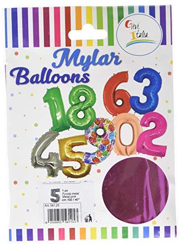 Givi Italia 56125Mylar Ballon Nr. 5Metall Fuchsia cm. 102, Mehrfarbig