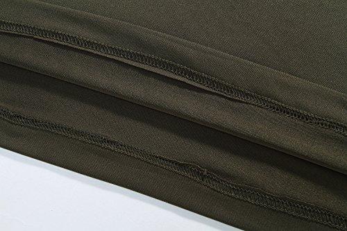 SSLR Herren Komfort Soft Regular Rundhals Casual Langarm Shirts Grün