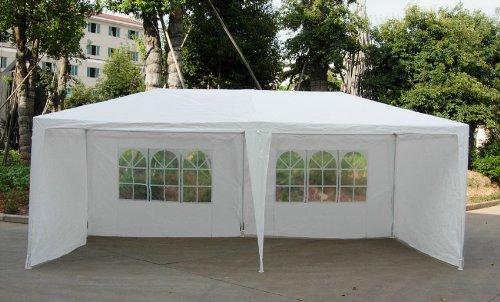 515hgQ399zL - BEST BUY# Puregadgets (c) Conrad Waterproof 3m x 6m PE Gazebo Marquee Awning Party Tent Canopy White Awning With Side Panels 120g PE Power Coated Steel Frame Reviews