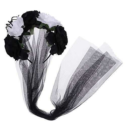 Tragen Tote Kostüm - Amosfun Halloween Stirnband Schleier Gothic Schleier Blume Krone Schleier Kopfschmuck für Tag der Toten Halloween-Kostüm (weiß und schwarz)