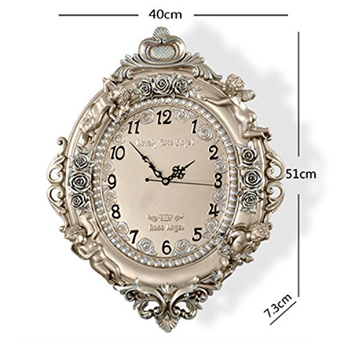 horloge murale CivilWeaEU- Fashion Art Décorative Quiet Mute Bedroom Horloge Horloges Big Hanging Angel Quartz Montres (Couleur : Champagne)