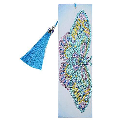 Demiawaking Segnalibro in Pelle DIY Diamond Painting Fai-da-te Artigianato Creativo Segnalibro con Nappa per Donna Uomo Bambini Regalo Natale Compleanno (Farfalla blu)