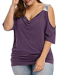 a57b92b76de5 iBaste Übergröße Blusen Damen T-Shirt Oberteil Schulterfrei Damen Locker  Oberteil Tops Bluse (XL