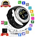 Smart Watch Bluetooth Smartwatch Round with TouchScreen SIM Card Slot, Waterproof Phones Smart Wrist Watch Sports Fitness Tracker Compatible with iPhone Android Samsung Huawei Sony for Kids Men Women by Kindak