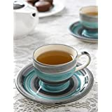 Woodenclave Ceramic Tea Cups And Saucers | Tea Cups With Saucer | Set Of 6 | Blue And Grey