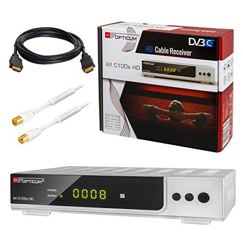 HB-DIGITAL Set: Opticum AX C100s HD Receiver für digitales Kabelfernsehen (HDMI, SCART, USB 2.0, Mediaplayer) + 1m HDTV Antennenkabel vergoldet mit Mantelstromfilter weiß + HDMI Kabel