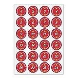 24 hübsche Advents Aufkleber mit den Zahlen 1 - 24 in Kranz mit Stern, rot, MATTE universal Papieraufkleber für Adventskalender, Weihnachts Geschenke, Etiketten für Tischdeko, Pakete, Briefe und mehr (ø 45mm