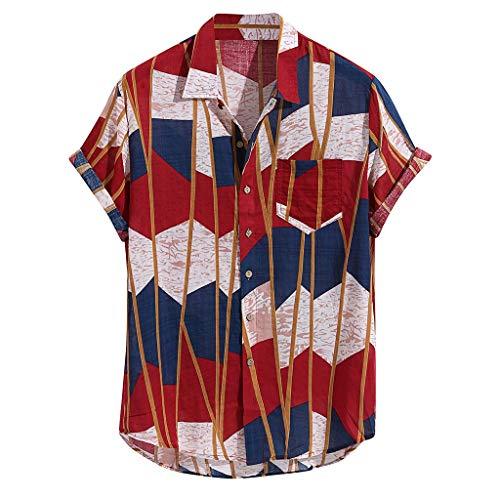 Cloom uomo camicia estate, camicia hawaiana da uomo, camicie casual, righe fiori tropicale 3d stampa manica corta, manica corta stampa floreale funky camicia hawaiana