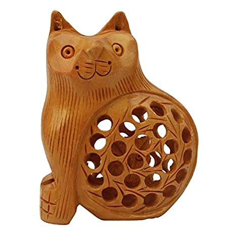 Sale 2016** SouvNear 7.6 cm Hand-Carved Wooden Cat Figurine /
