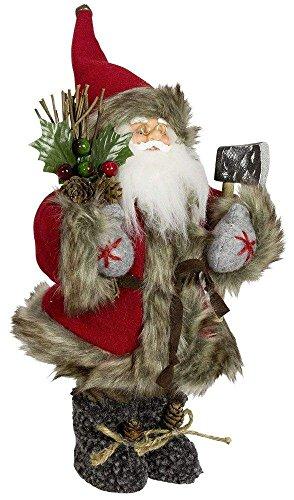 Christmas Paradise Weihnachtsmann Santa Nikolaus Logan mit schönem Gesicht und Vielen Details/Größe ca.30cm/Roter Fellmantel, Rote Fellmütze, Braune Hose, Braune Stiefel - Trendyshop365