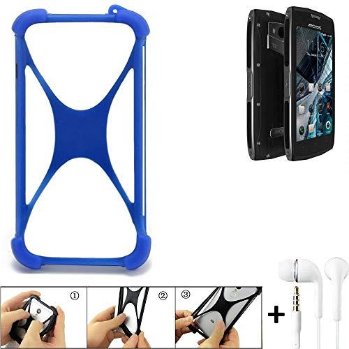 K-S-Trade Handyhülle für Archos Sense 50 X Bumper Schutzhülle Silikon Schutz Hülle Cover Case Silikoncase Silikonbumper TPU Softcase Smartphone, Blau (1x), Headphones