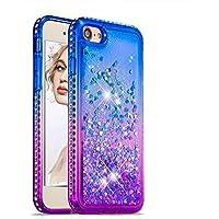 Flüssigkeit Hülle für iPhone 8,Glitzer Handyhülle für iPhone 7,Moiky Luxus Lustige Kreative Blau Lila 3D Liebe Herz Crystal Schwebend Stoßdämpfend Diamant Handyhülle