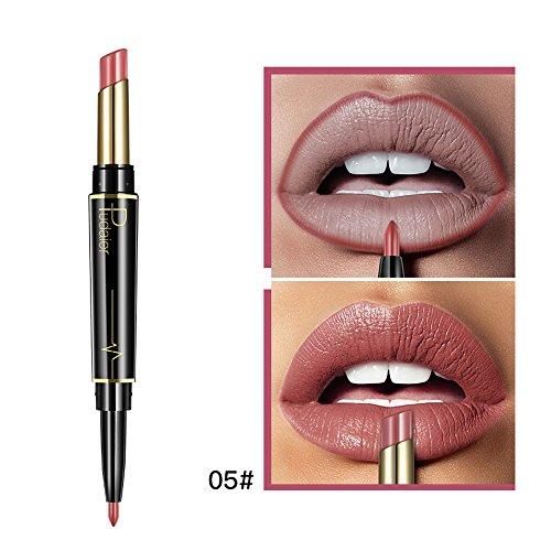 Cooljun Liquidation,Crayon à lèvres imperméable à l'eau double épaisseur 16,Waterproof Hydratant Brillant Maquillage à Lèvres (E)