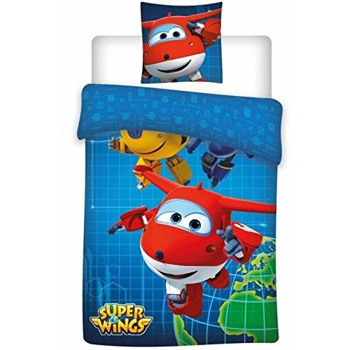Super wings–Juego de cama individual (funda de edredón, microfibra, multicolor, 200x 140cm)