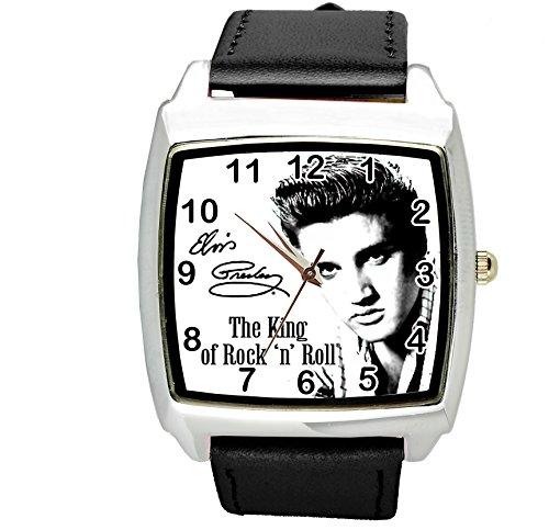 taport® Armbanduhr Elvis Presley quadratisch QUARZ schwarz Echt Leder Band + Gratis Ersatz Batterie + Gratis Geschenkverpackung