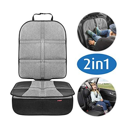 reer Kindersitz-Unterlage TravelKid MaxiProtect, Autositz-Schutzunterlage mit Rückenlehnen-Schutz, rutschfeste Unterlage, ISOFIX geeignet, für alle herkömmlichen Modelle, grau