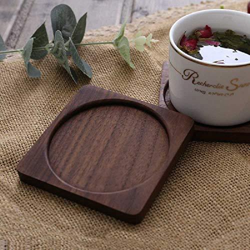 Feixiangge Holz Quadratische Tasse Pad Kaffeetasse Zu Halten Ganzes Holz Farblose Wasser Tasse Pad Teekanne Matte Garniture noire de tasse de noyer à l'ex -