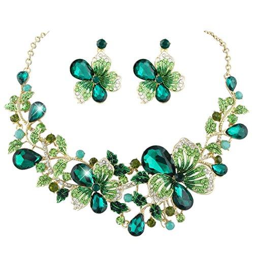 Flyonce Österreichischer Kristall Hochzeit Blume Blatt Rebe Teardrop Halskette Ohrringe Set Gold-Ton Gold-Ton